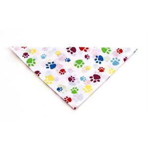 Multicolored Paws on White Bandannas
