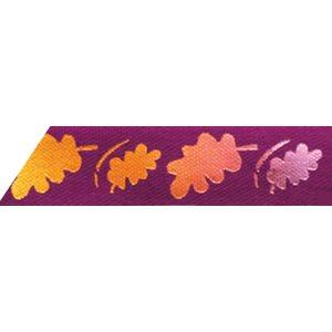 Ribbon / Autumn Leaves on Purple - 50 Yards