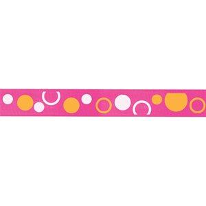 Ribbon / Circles on Hot Pink - 50 Yards