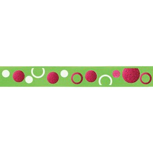 Ribbon / Circles on Lime - 50 Yards