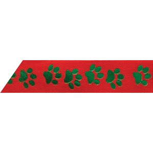 Ribbon / Green Paws on Red - 50 Yards