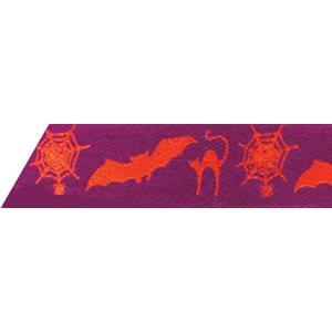 Ribbon / Halloween on Purple - 50 Yards