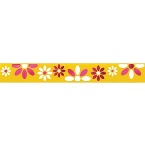 Ribbon / Large Flowers on Bright Yellow - 50 Yards